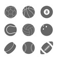 sports balls set silhouettes of balls vector image vector image