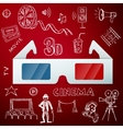 Three D glasses and hand draw cinema icon vector image vector image