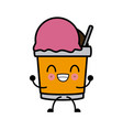 tumbler ice cream kawaii cartoon vector image