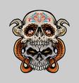 two sugar skull muertos vector image vector image
