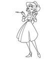 vintage girl line art vector image vector image