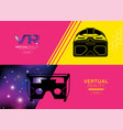 virtual reality banner headset icon flat design vector image vector image