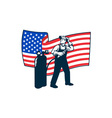 Welder Standing Visor Up USA Flag Wavy Retro vector image vector image