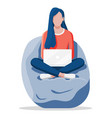woman work on laptop at bean bag chair vector image