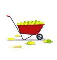 yellow corn in red wheelbarrow flat style vector image vector image