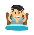 young man suffers from lack of sleep vector image vector image