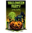 halloween card design pumpkin and haunted house vector image