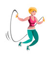 girl doing jump rope exercises vector image