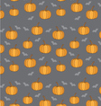 background with pumpkins and bats for Halloween vector image