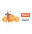 bitcoin mining concept man holding pickaxe golden vector image