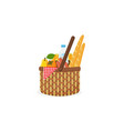 braided picnic basket with fruit drink sausages vector image vector image