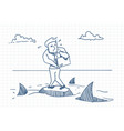 Business man doodle standing on rock with sharks