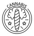 cannabis cigar logo outline style vector image vector image