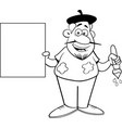cartoon artist holding a sign vector image vector image