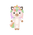 cartoon unicorn in flat style vector image vector image