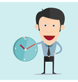 cartoon with clock in flat design vector image vector image