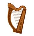 celtic triangular harp folk musical instrument vector image