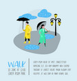 characters people walking in the rain poster vector image vector image