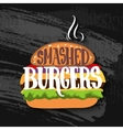 Classic burger with lettering on chalk board vector image