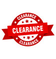 clearance ribbon clearance round red sign vector image vector image