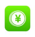 coin yen icon digital green vector image