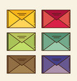 color mail icon set in flat design style vector image vector image