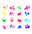 color paint splatter bright ink stains and spray vector image vector image