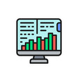 computer monitor with growth graphs stock market vector image