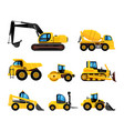 construct machines heavy machinery vehicles large vector image vector image