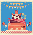 cowboy happy birthday card for text vector image vector image