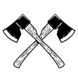 crossed lumberjack axes isolated on white vector image