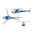 Drawing a helicopter in a flat style vector image vector image
