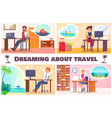 dreaming about travel set of vector image vector image