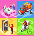 fast food truck hamburger home delivery isometric vector image vector image