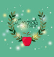 graduation card with apple vector image vector image