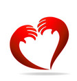 hands representing a heart valentines icon logo vector image vector image
