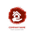 home insurance icon - red watercolor circle splash vector image vector image