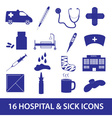 hospital and sick icon set eps10 vector image vector image