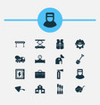 industrial icons set with observatory trowel vector image