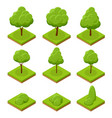 isometric trees and bushes collection of trees vector image vector image