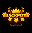 jackpot gold casino lotto label with shooting vector image vector image