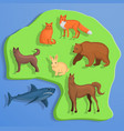 land animal concept background cartoon style vector image