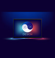 laptop with ui and ux yin yang vector image