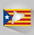 map of catalonia and flag patriotism long shadow vector image