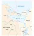 map szczecin lagoon in estuary the vector image vector image