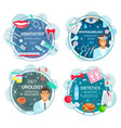 medicine round icons of doctors and medical tools vector image vector image