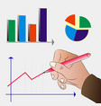 mens hand draws a graph of business development vector image vector image