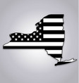 new york ny state shape with usa flag black white vector image vector image