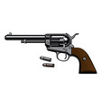 old revolver with two bullets in realistic style vector image
