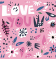 romantic flat hand drawn seamless pattern vector image vector image